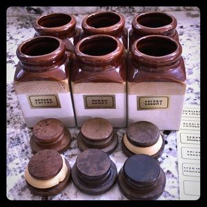 6 earthenware spice jars/mini vases with stickers
